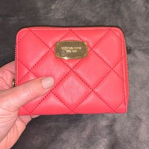 NWT Michael Kors Red Hamilton Quilted Wallet